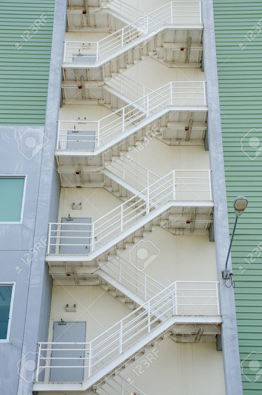 Fire Exit Escape Stairs On Old Office Building Upward Angle Stock Photo    44451614