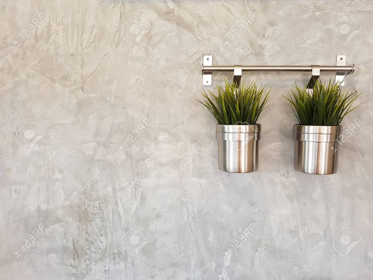 Plant In Stainless Pots Hang On Concrete Wall Stock Photo Picture