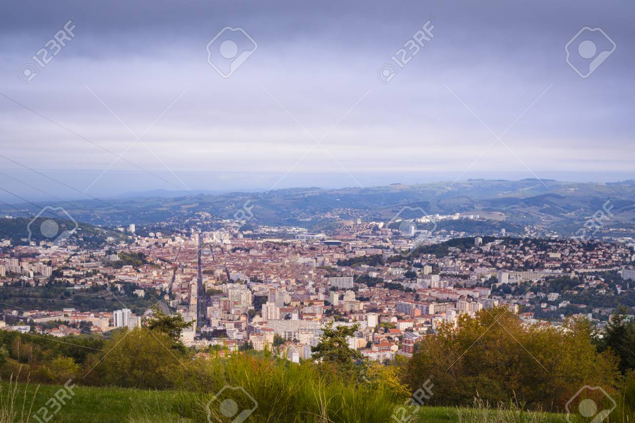 Panoramic View Of Saint Etienne City During A Beautiful Day Royalty