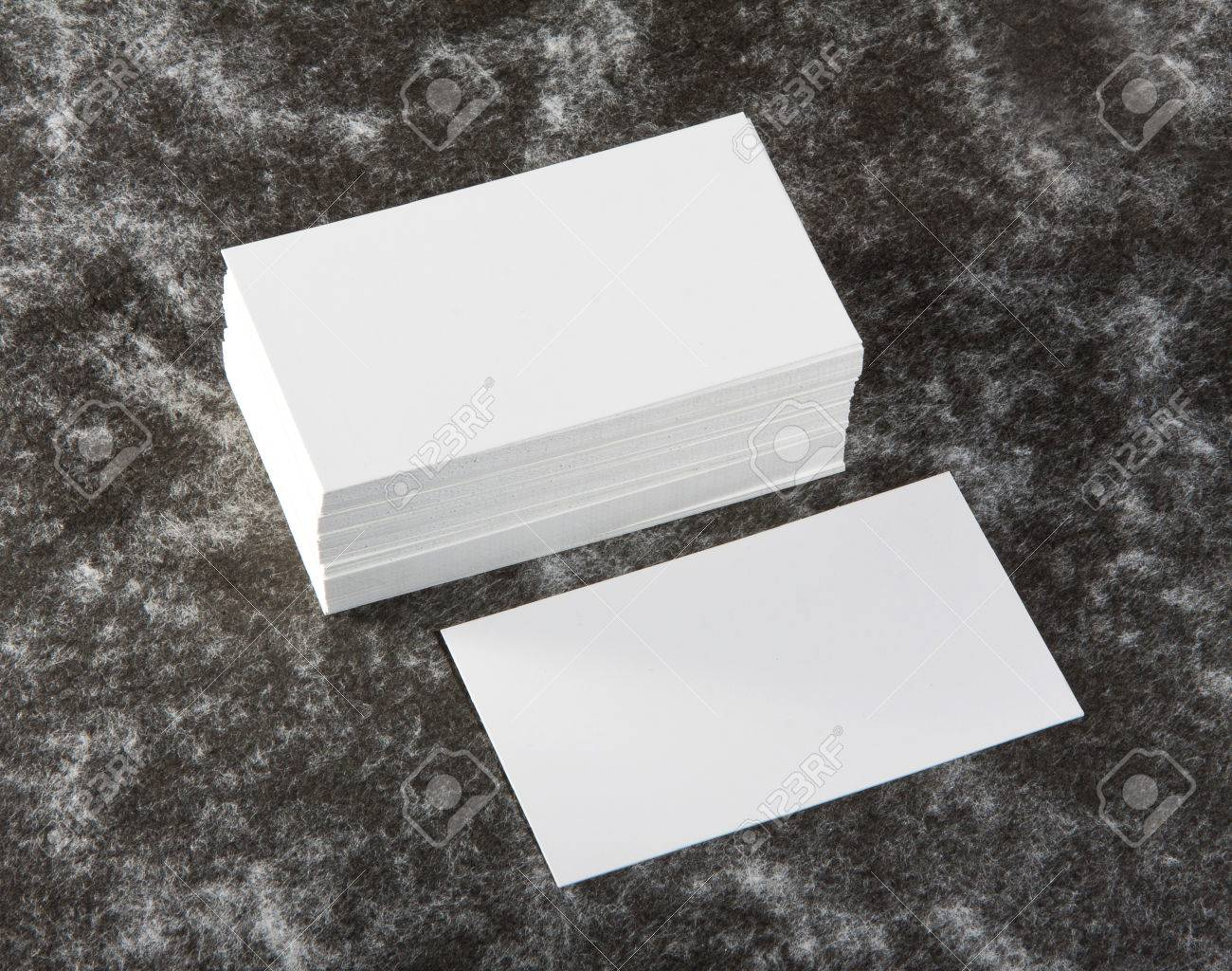 Blank Business Cards On A Fabric Texture Background Stock Photo ...