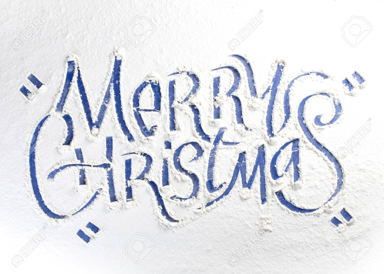 Written Words Merry Christmas On A Snow Stock Photo, Picture And ...
