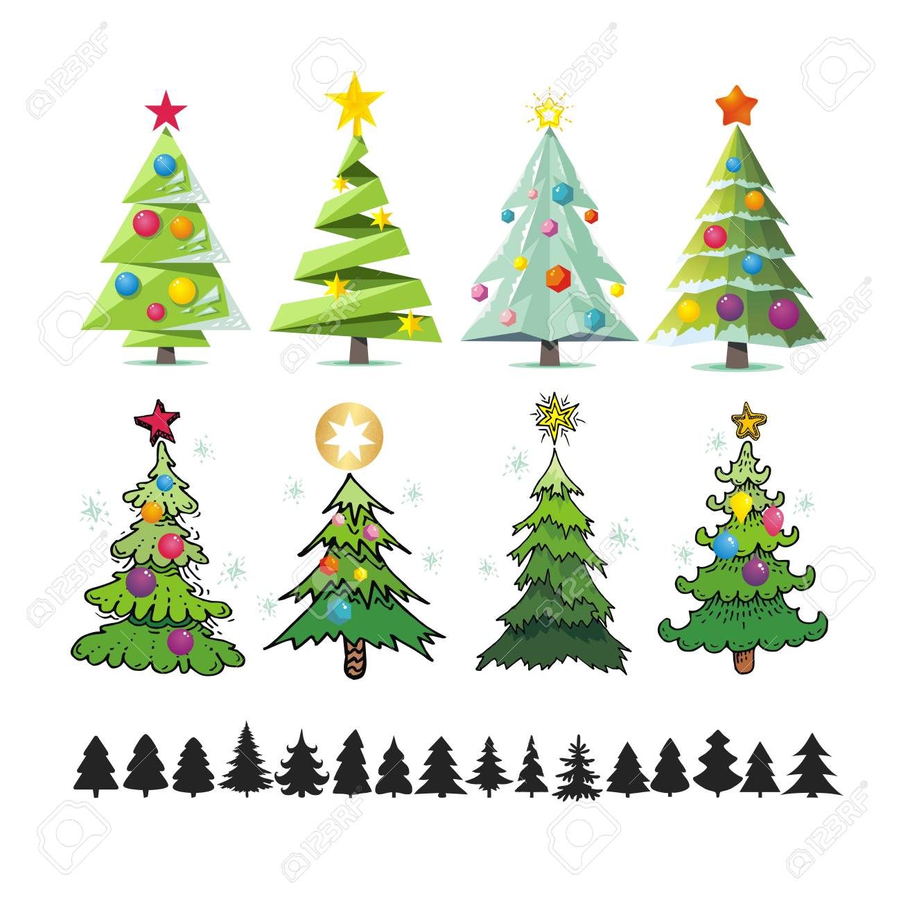 Set Of Different Elegant Christmas Trees. Design Elements Of ...