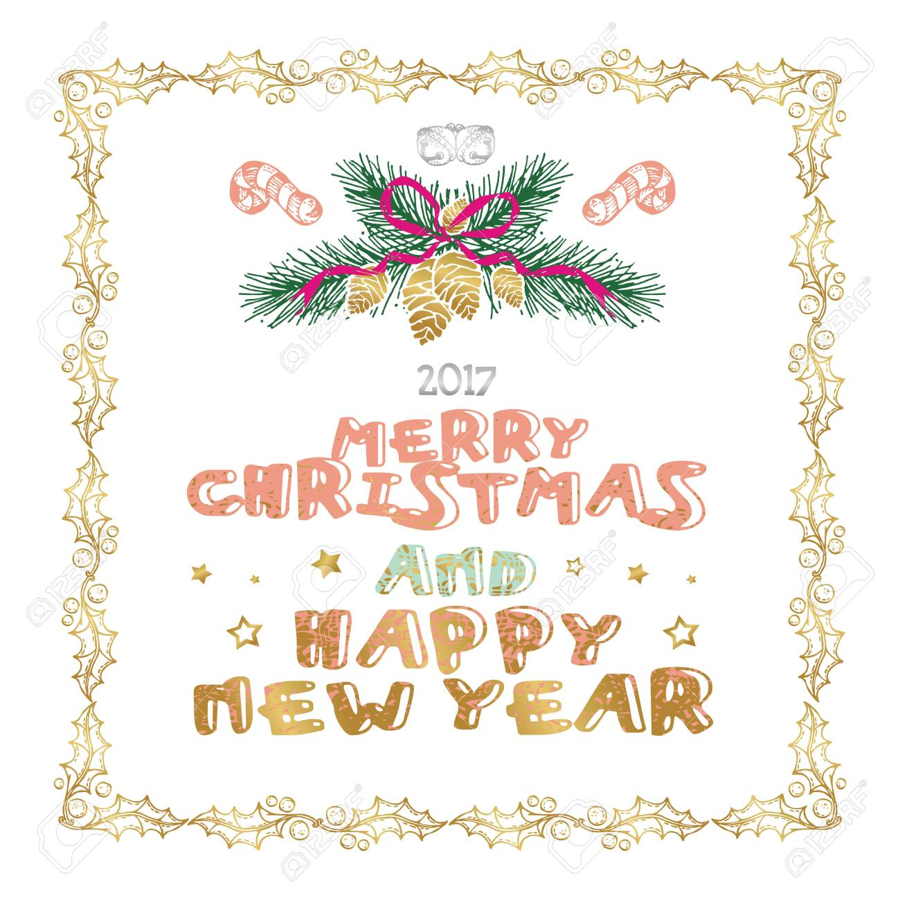 Merry Christmas And Happy New Year Words On White Background ...