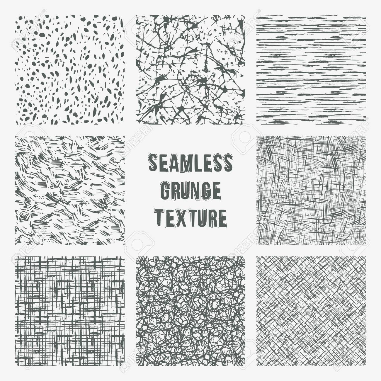 Set of grange seamless patterns. Simple vector scratch textures with dots, strokes and doodles - 75747346