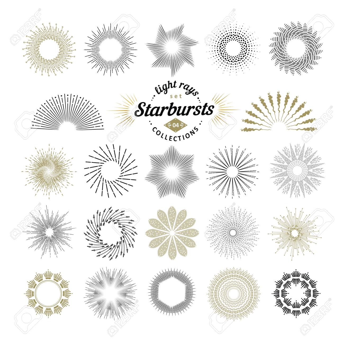 rays and starburst design elements collection of sunburst vintage