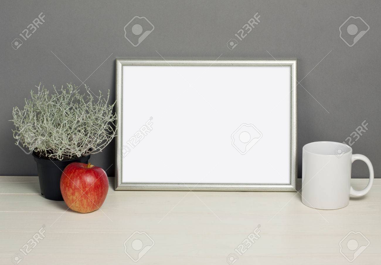 Frame Mockup With Plant Pot, Mug And Apple On Wooden Shelf. Empty ...