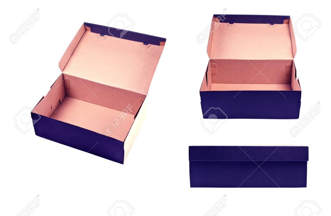 Différent point de vue de la boîte vide avec couvercle sur fond blanc. Boîte en carton d'expédition fermée et ouverte