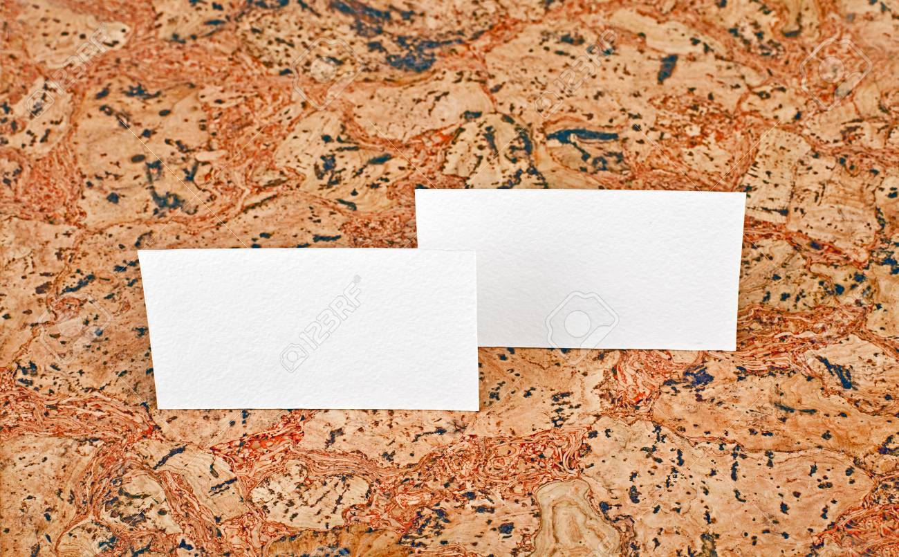 Mockup Of White Business Cards At A Cork Background. Template ...