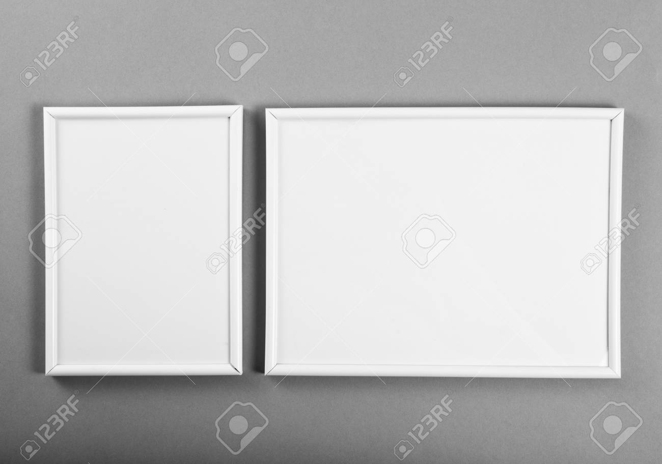 White Frames For Paintings Or Photographs On Gray Background Stock