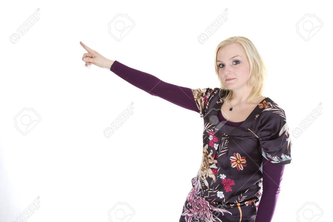 A woman is pointing to something above. Stock Photo - 6508815