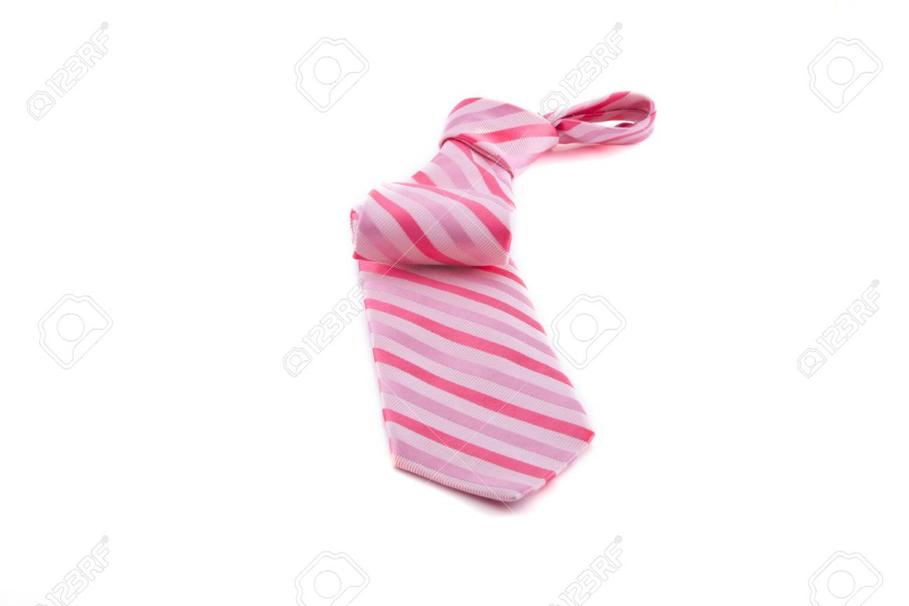 Pink tie with knot on a white background. Stock Photo - 7666334