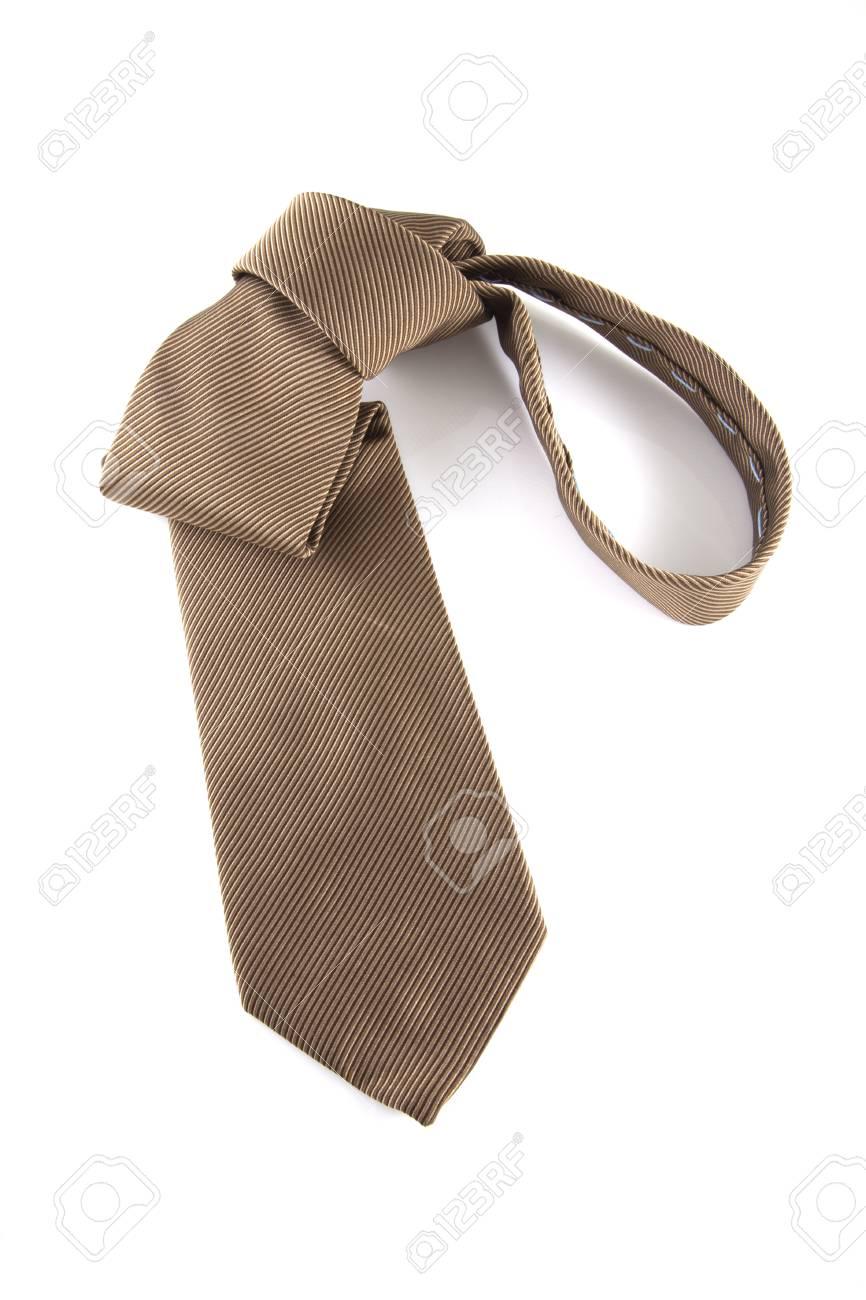 Single brown neck tie on a white background. Stock Photo - 9238665