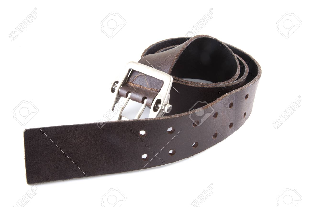 A brown leather belt on a white background. Stock Photo - 9238663