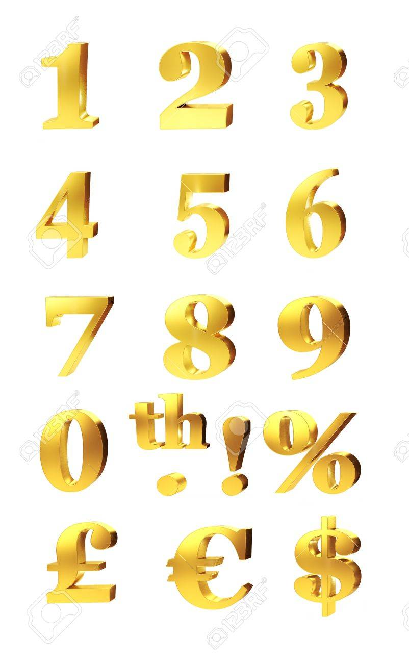 3d set of gold numerals percentage and currency symbols for 3d set of gold numerals percentage and currency symbols for pound dollar and euro biocorpaavc Gallery