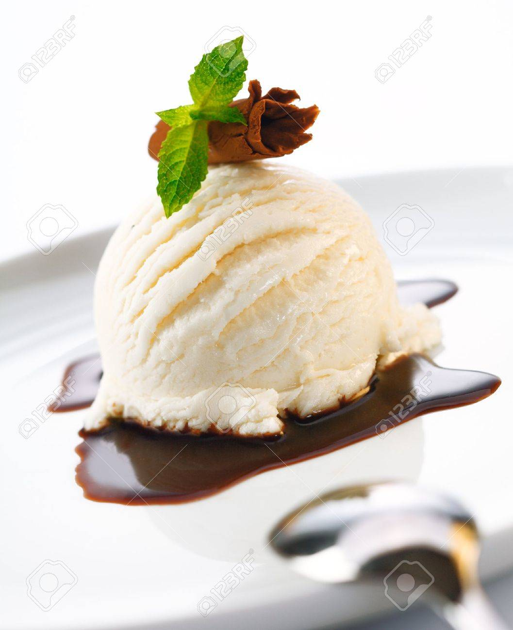 Serving of ice cream and hot chocolate sauce garnished with shaved chocolate and mint Stock Photo - 14303089
