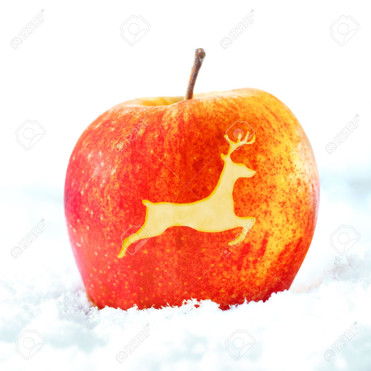 Ripe Red Decorative Christmas Apple With The Shape Of A Leaping ...