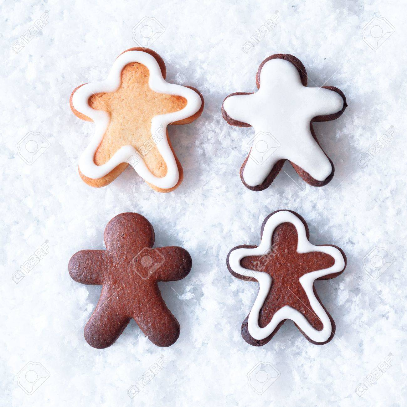 Tasty Christmas Gingerbread Men Cookies With Decorative Icing ...
