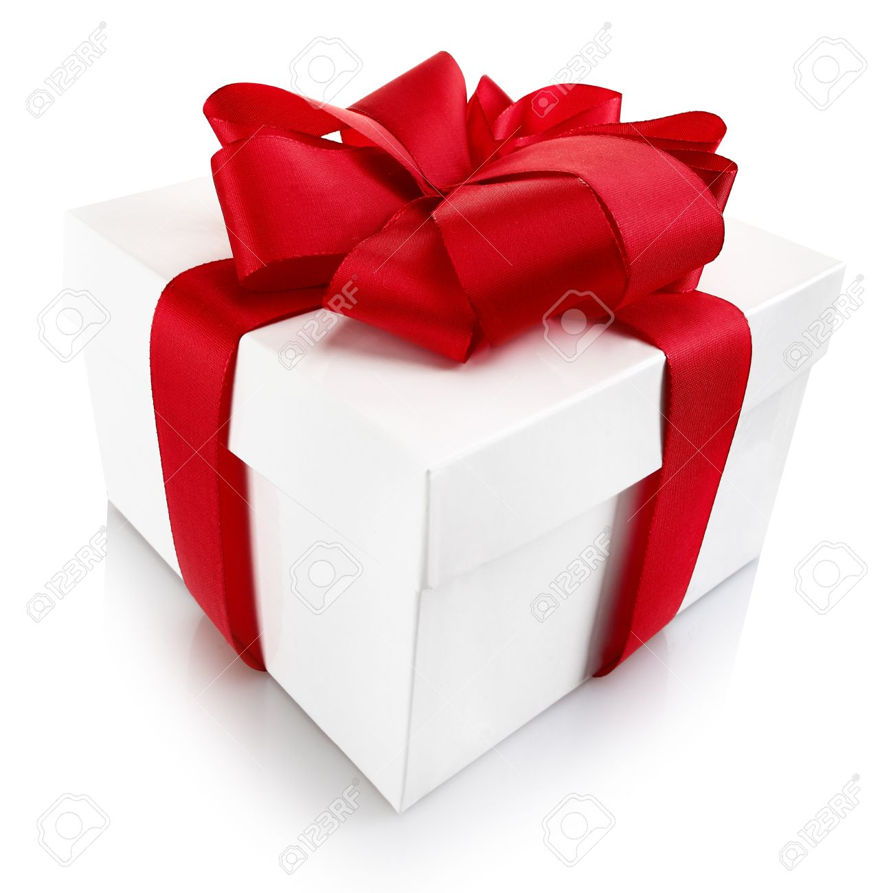 decorative christmas or valentine gift square white cardboard box with lid tied with a beautiful