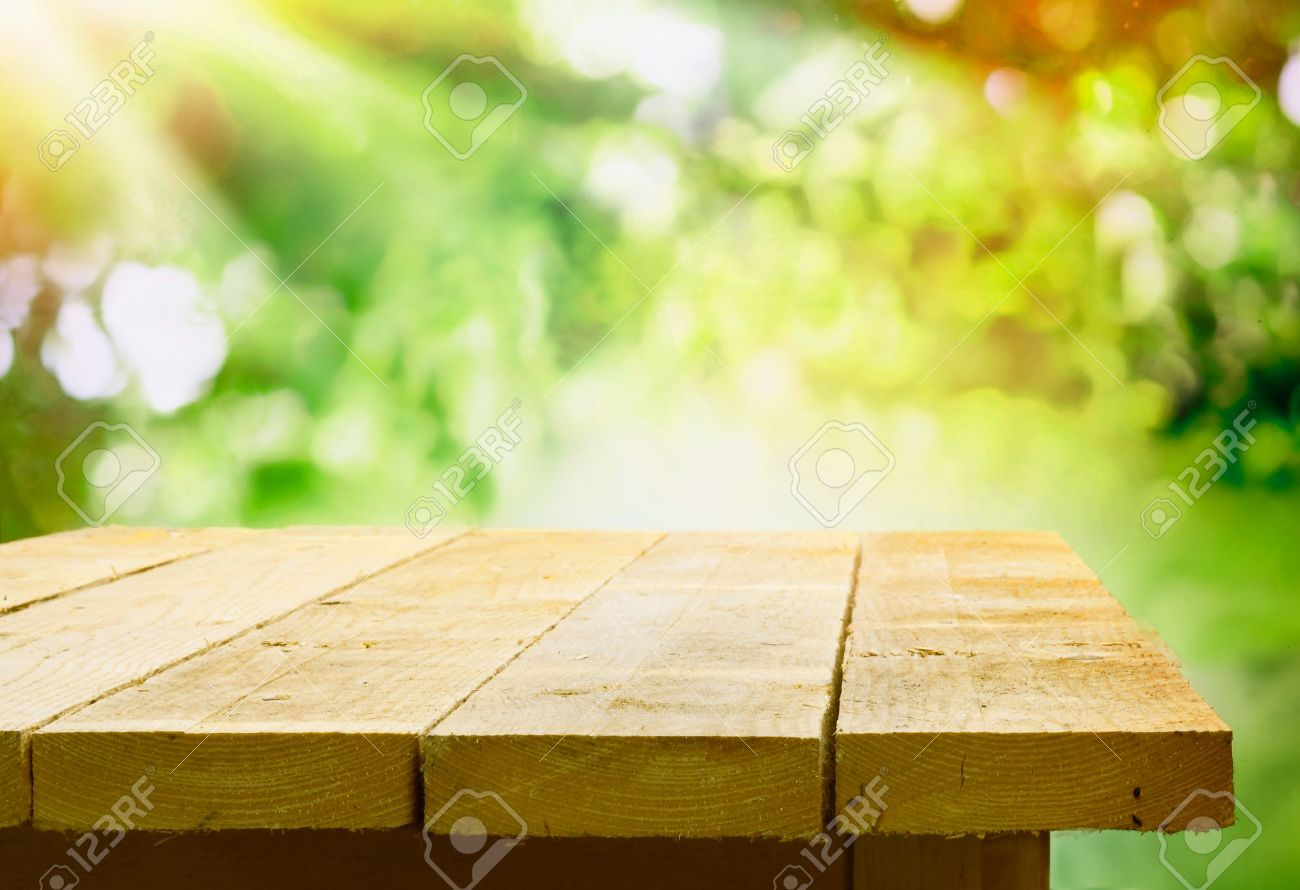 Wood table background hd - Wooden Table Empty Wooden Table With Garden Bokeh For A Catering Or Food Background With