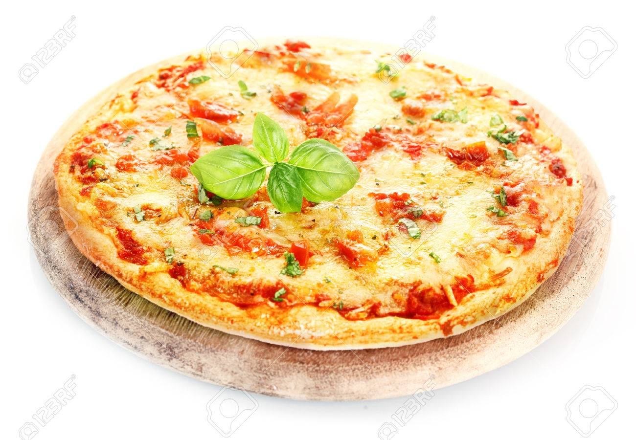 Pizza Margherita Isolated On White BackgroundPizza Placed Over A Board Decorated With Basil Leafs
