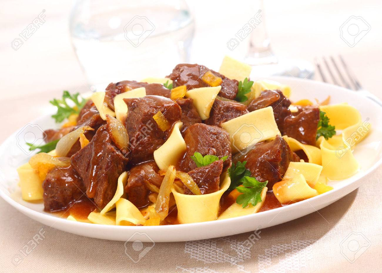 Serving On A Plate Of Beef Goulash A Stew That Originated In Hungary Served
