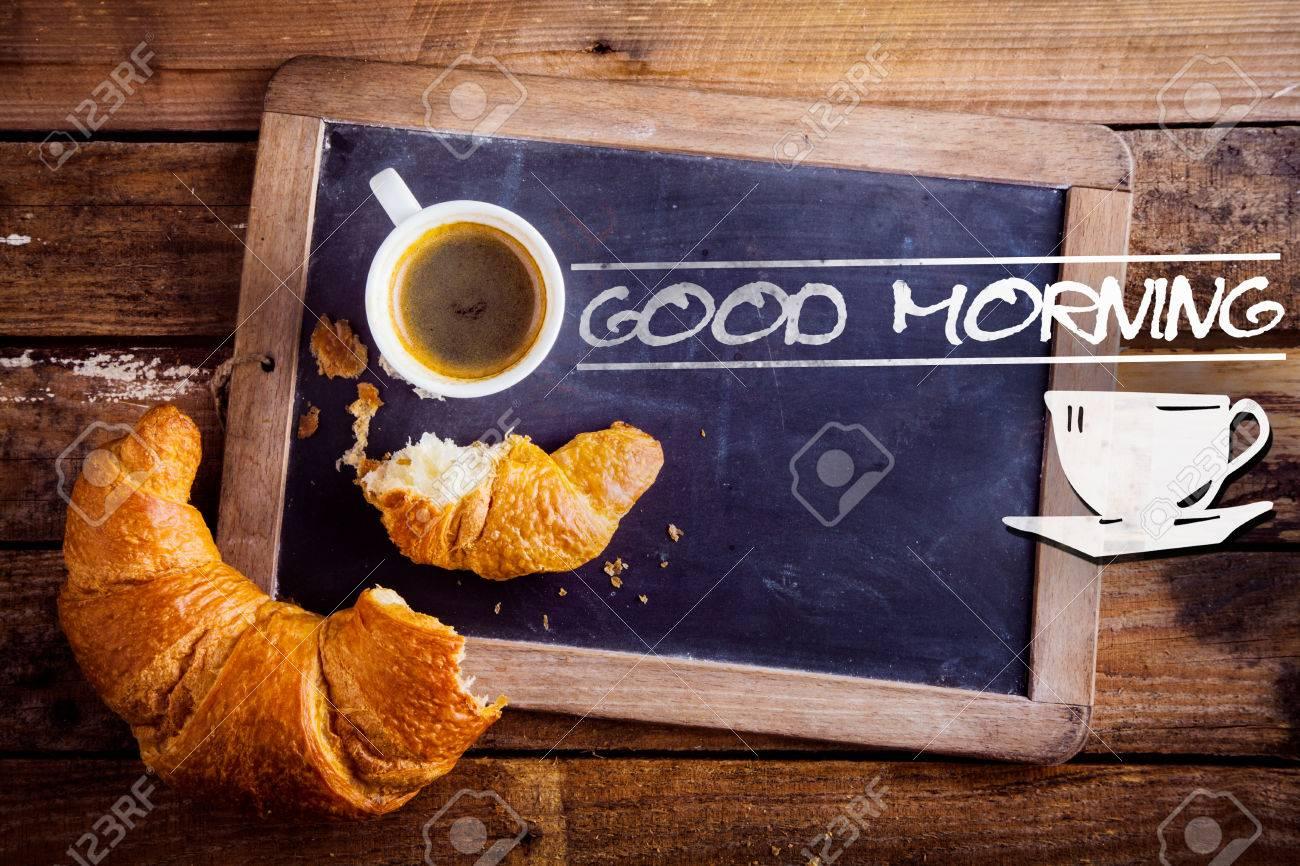 Buena Señal La Mañana Con Una Taza De Café De La Mañana Fresca ...