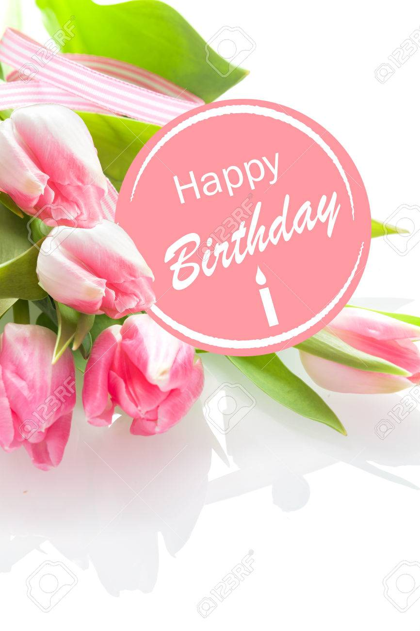 Pretty Feminine Happy Birthday Greeting With A Festive Pink Rosette And Bouquet Of Beautiful Fresh