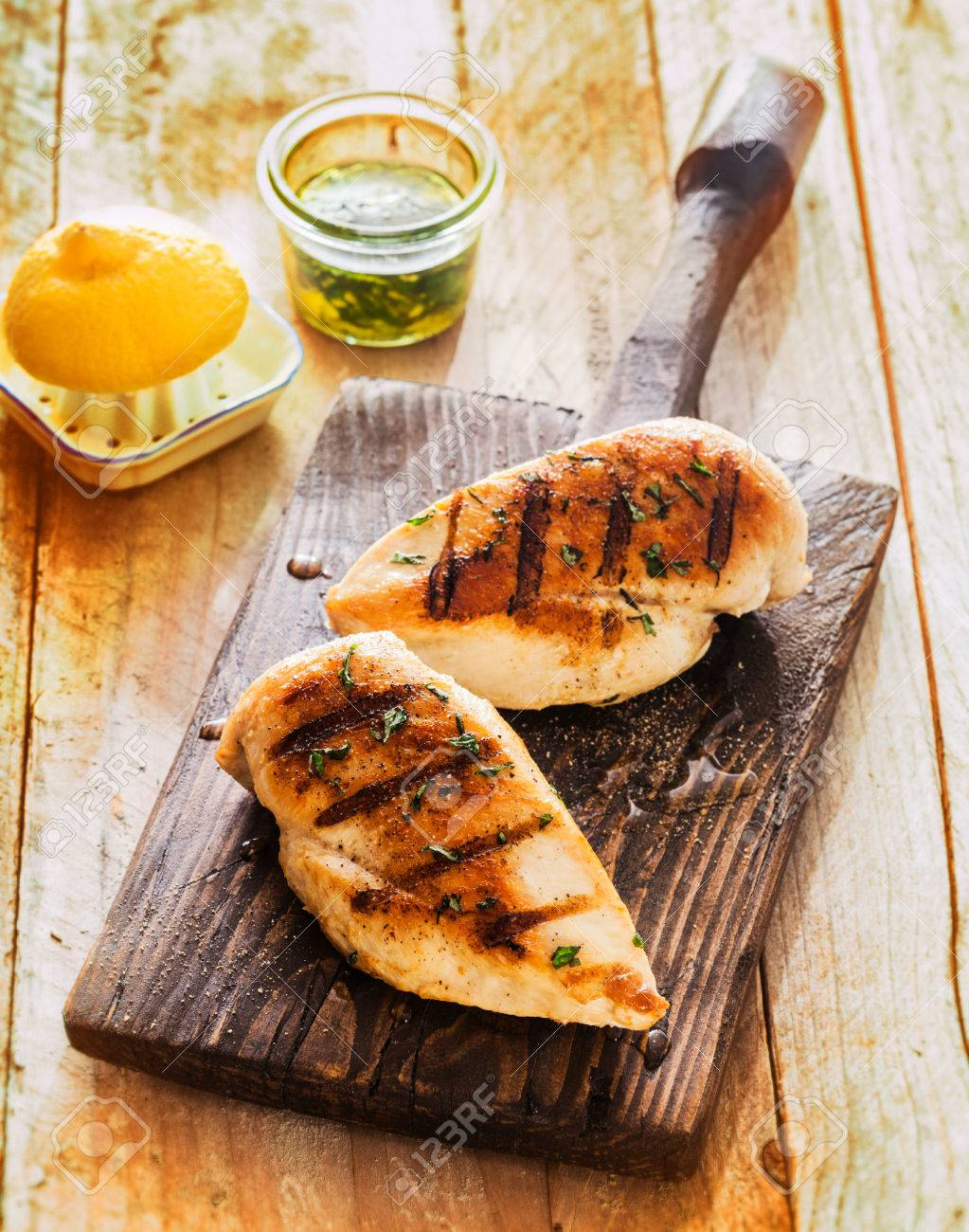 Healthy Grilled Chicken Breasts Marinated With Lemon And Olive