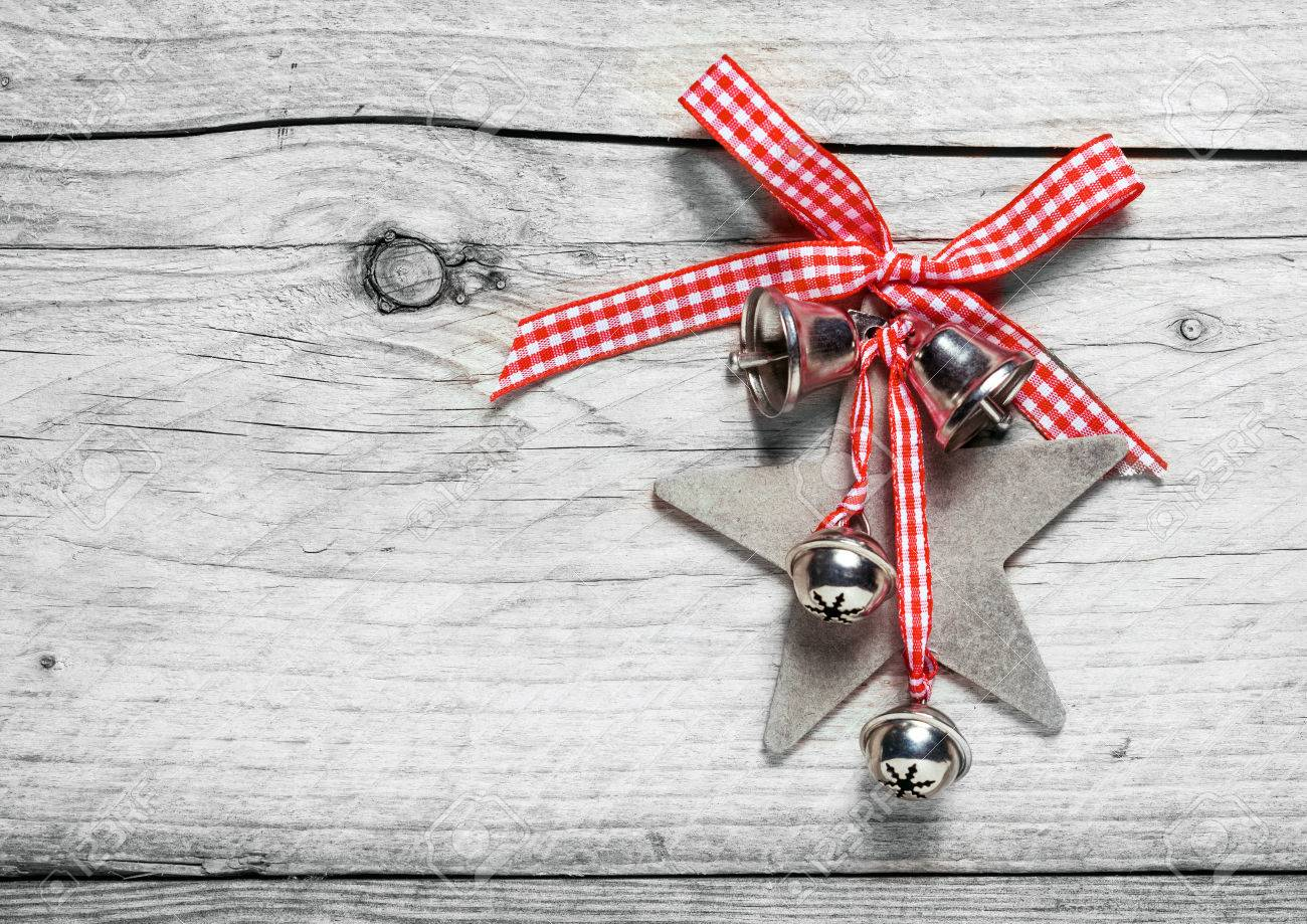 Homemade rustic christmas ornaments - Homemade Rustic Christmas Decoration With A Fresh Red And White Checked Bow Holding A Star And