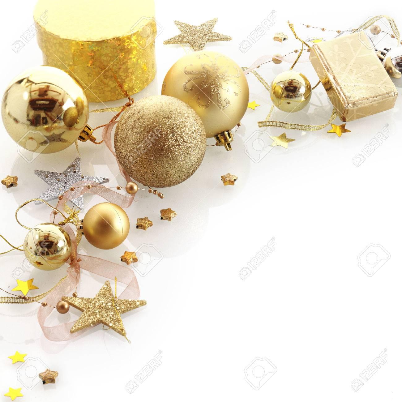 Christbaumkugeln Weiß Gold.Stock Photo