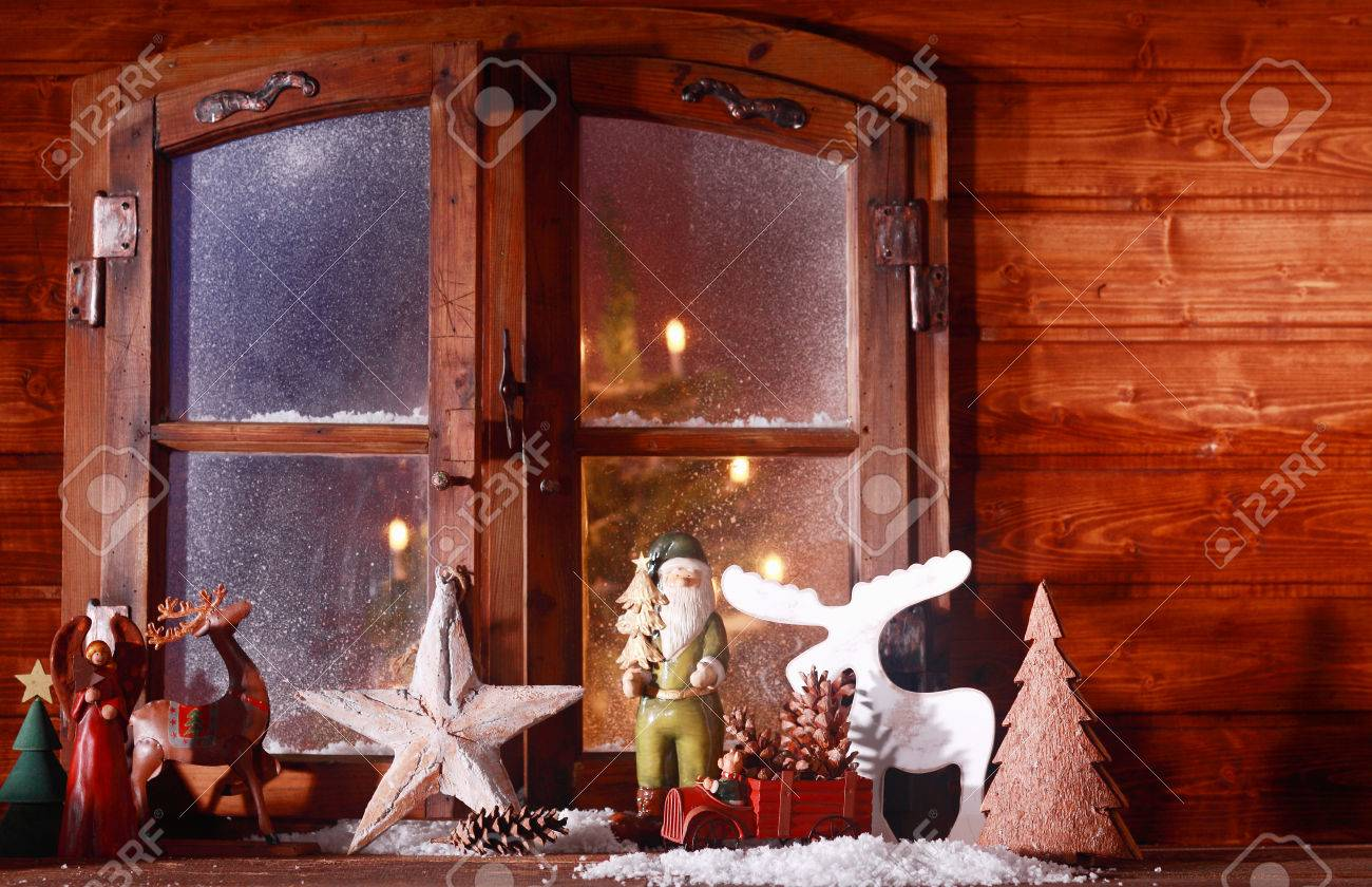 Log Cabin Christmas.Festive Christmas Log Cabin Window With A Rustic Collection Of
