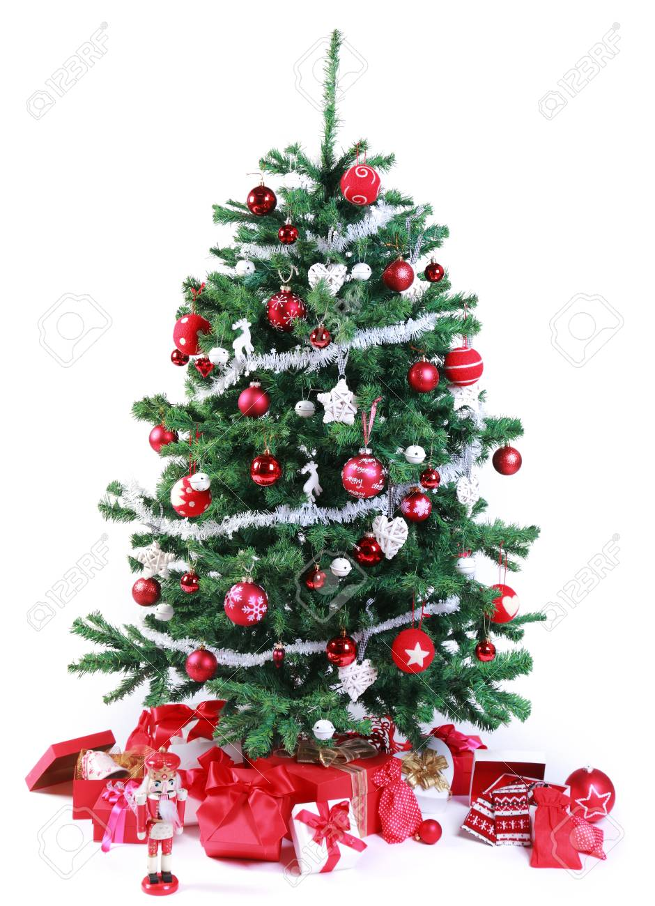Pretty Red And Silver Themed Christmas Tree Decorated With A