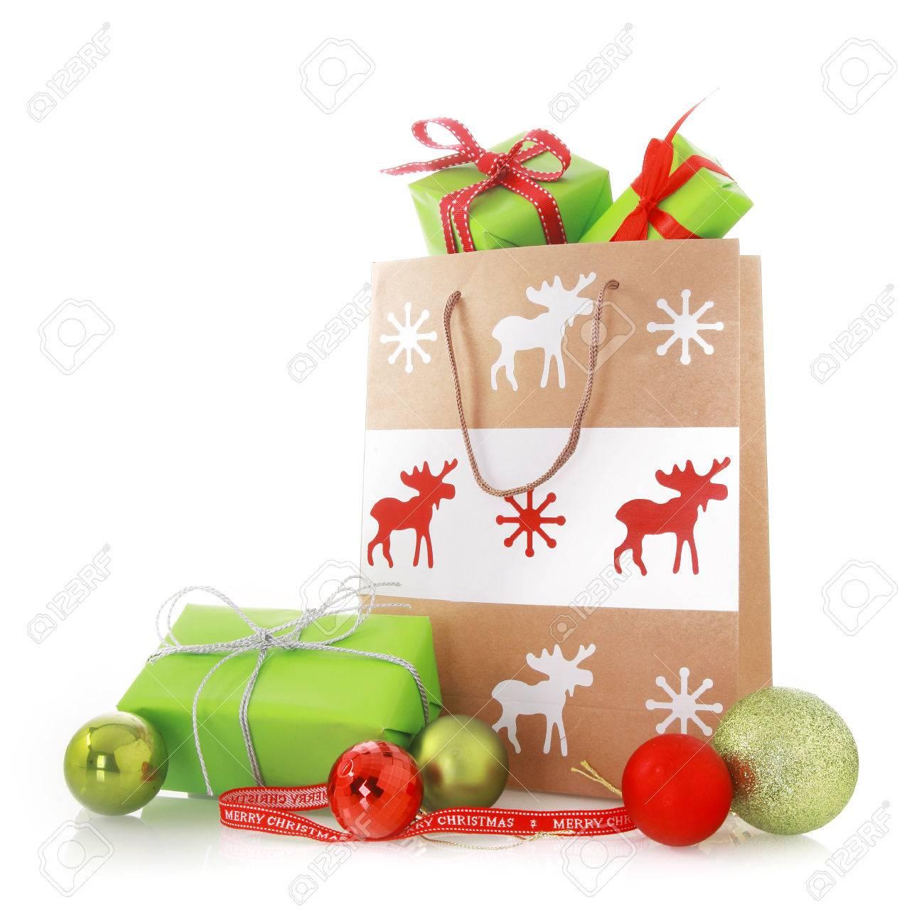 Close Up Schöne Weihnachten Geschenk-Taschen Mit Grün Und Rot ...