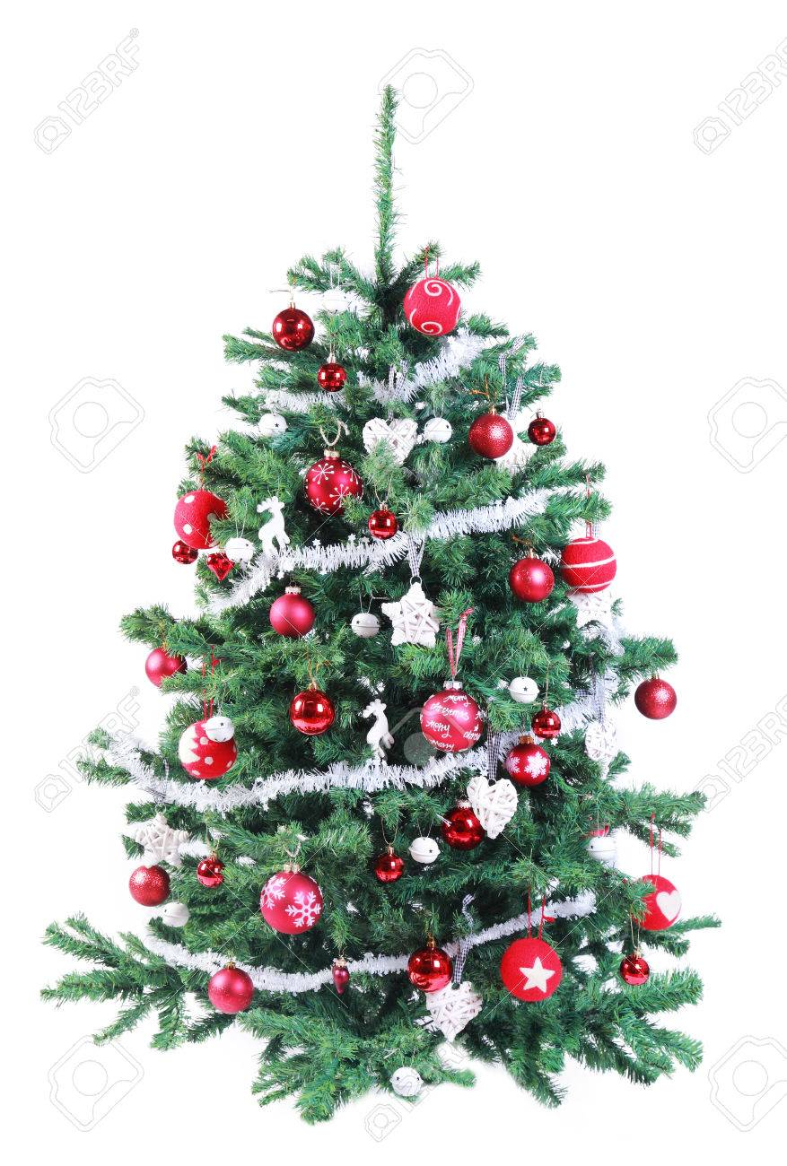 Colorful Decorated Artificial Green Fir Red And Silver Color.. Stock ...