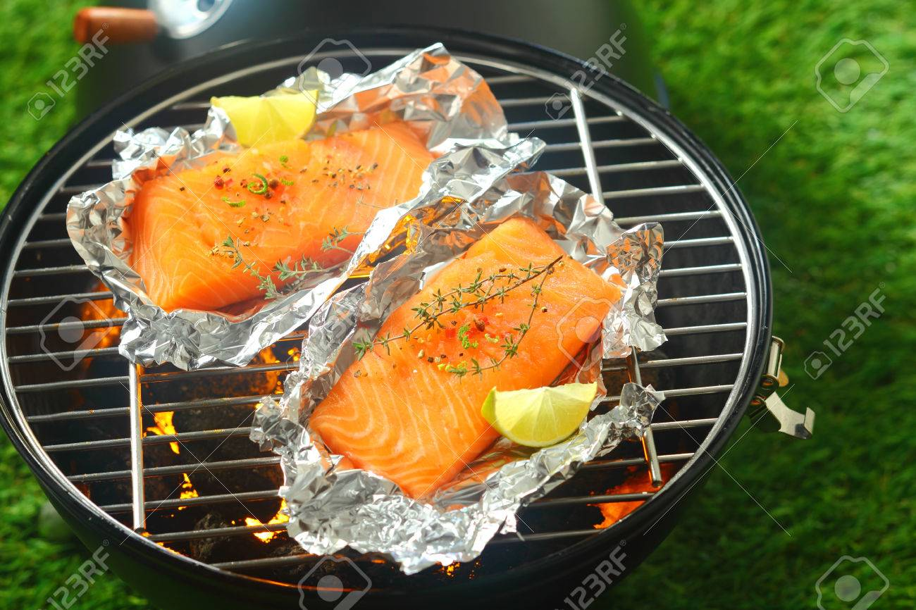 Salmon In Foil In Toaster Oven Delicious Fresh Salmon Fillets Grilling On  An Open Fire
