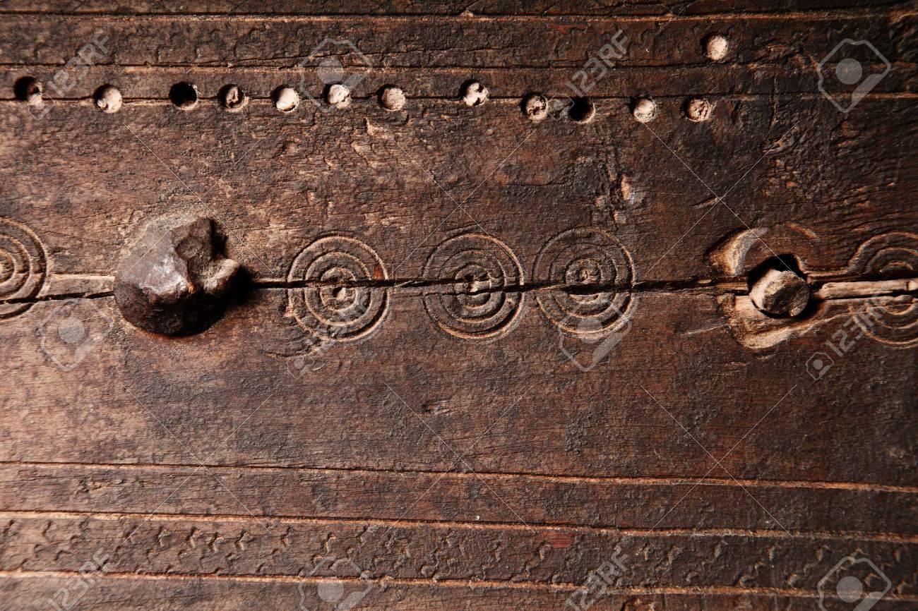 Vecchio stile medievale in legno texture di sfondo con un pannello ...
