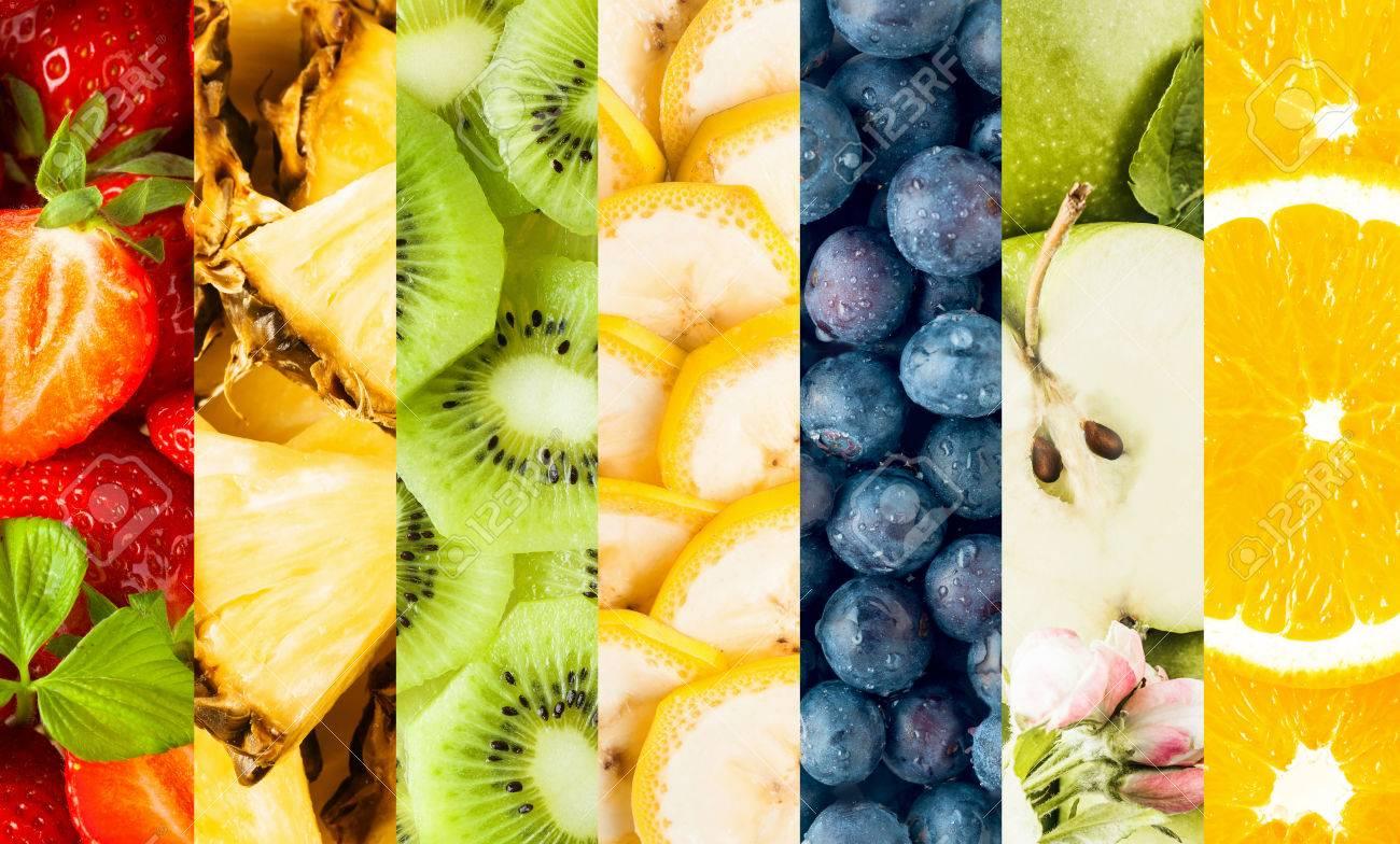 Collage De Frutas Tropicales Frescas En Rodajas Con Rayas Verticales ...