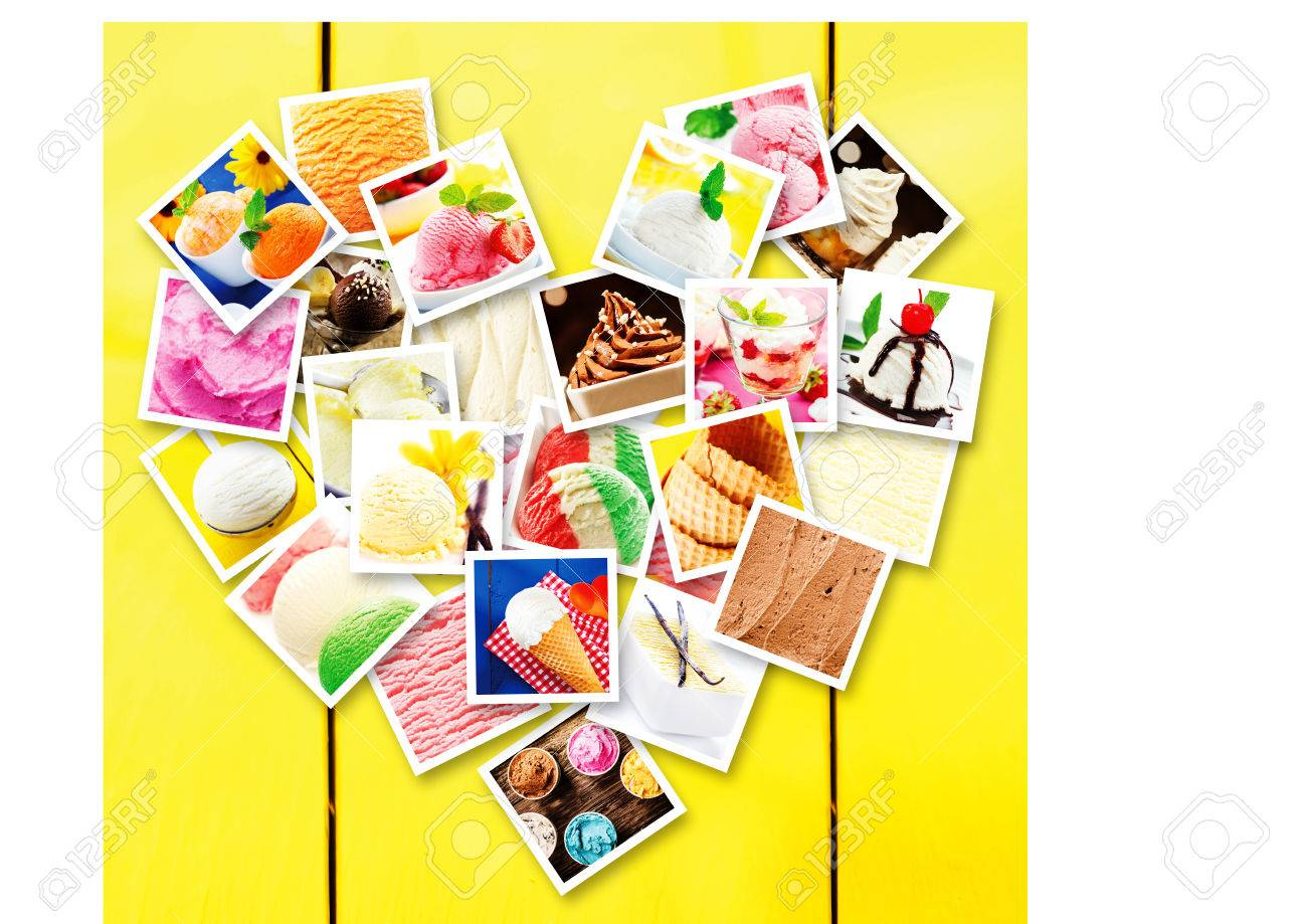 Photo Collage Made Of Square Pictures Of Different Types Of ...