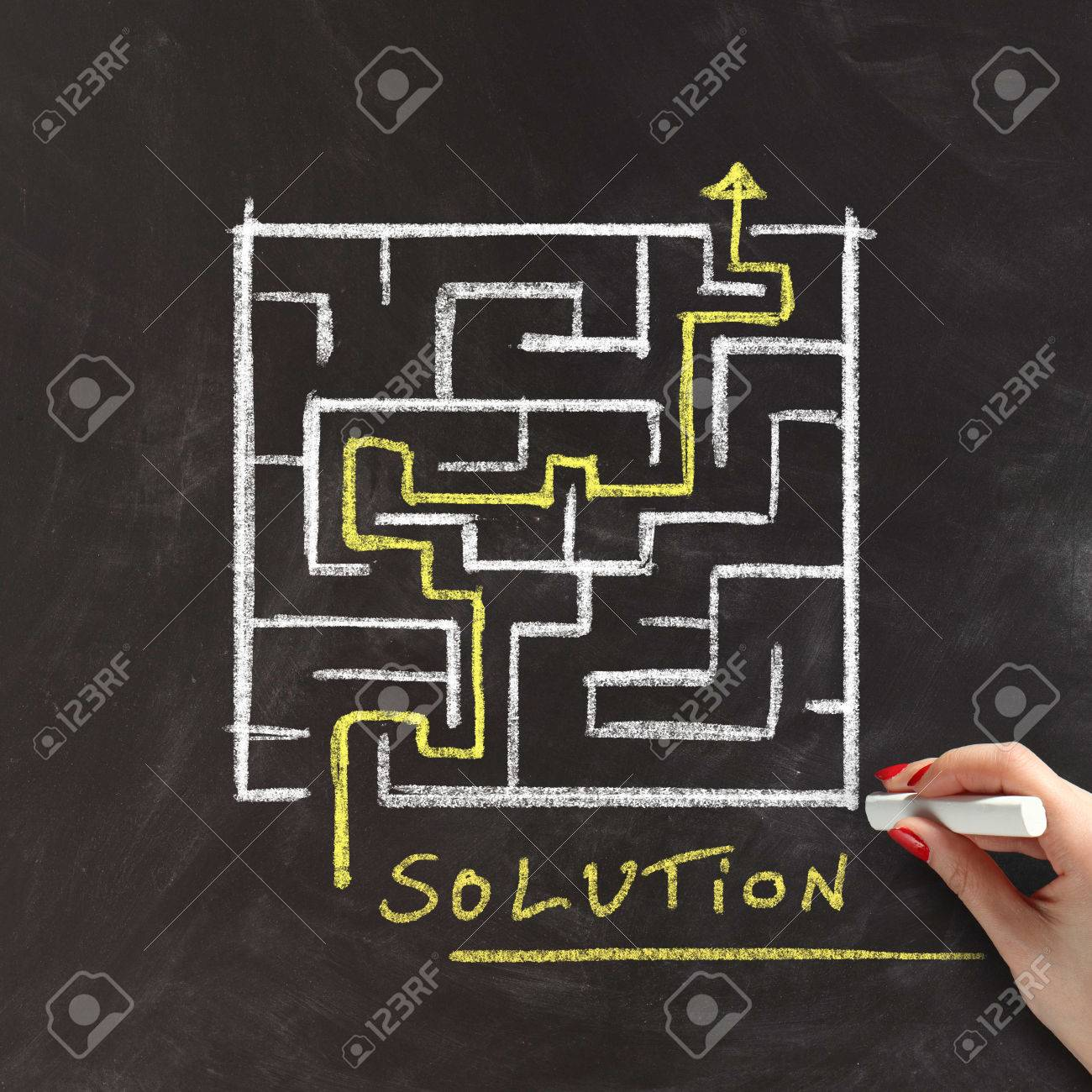 Solution or problem solving concept with a female hand drawing