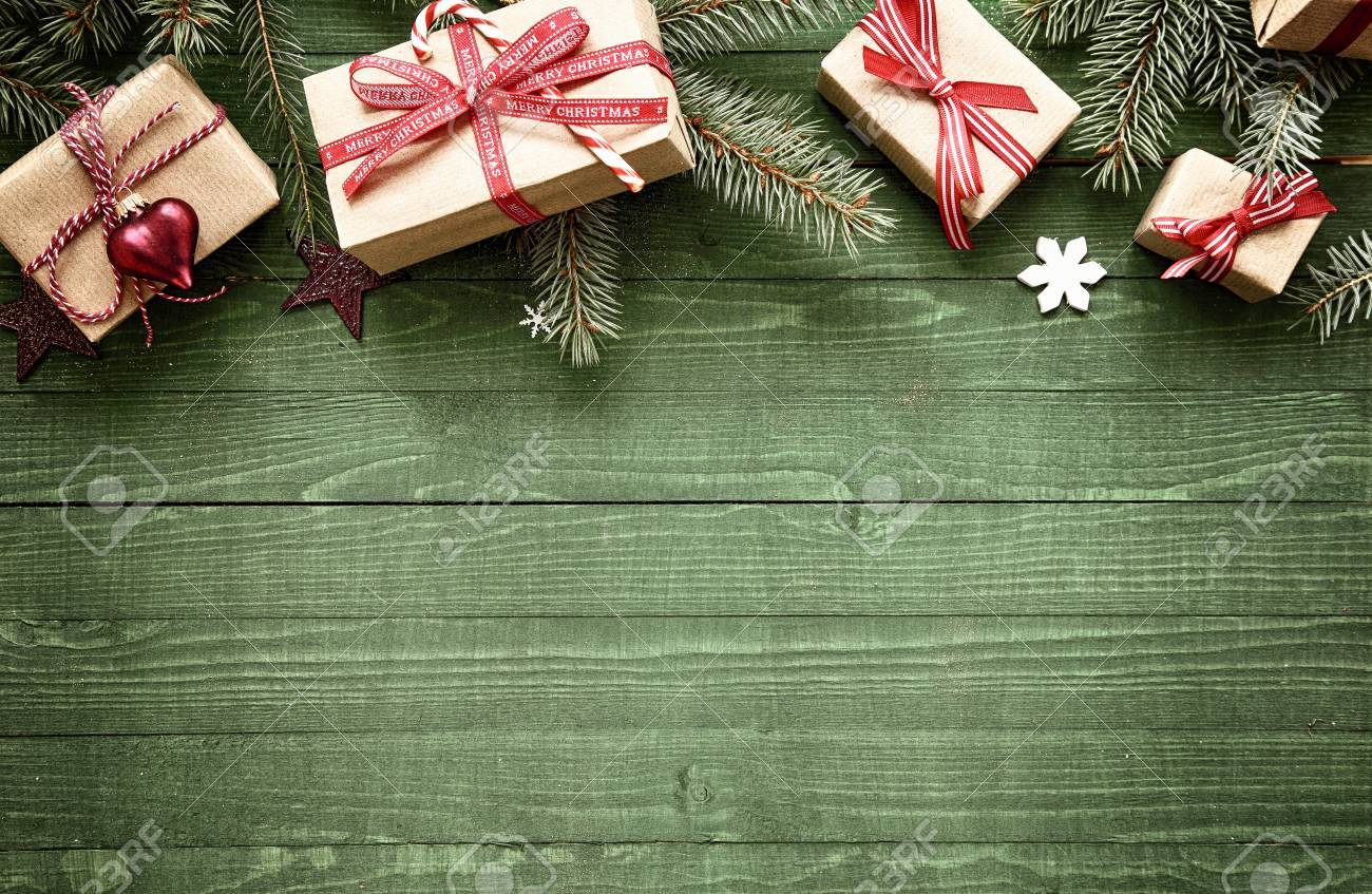 Christmas Boarder.Rustic Festive Christmas Border With Gift Wrapped Presents Tied