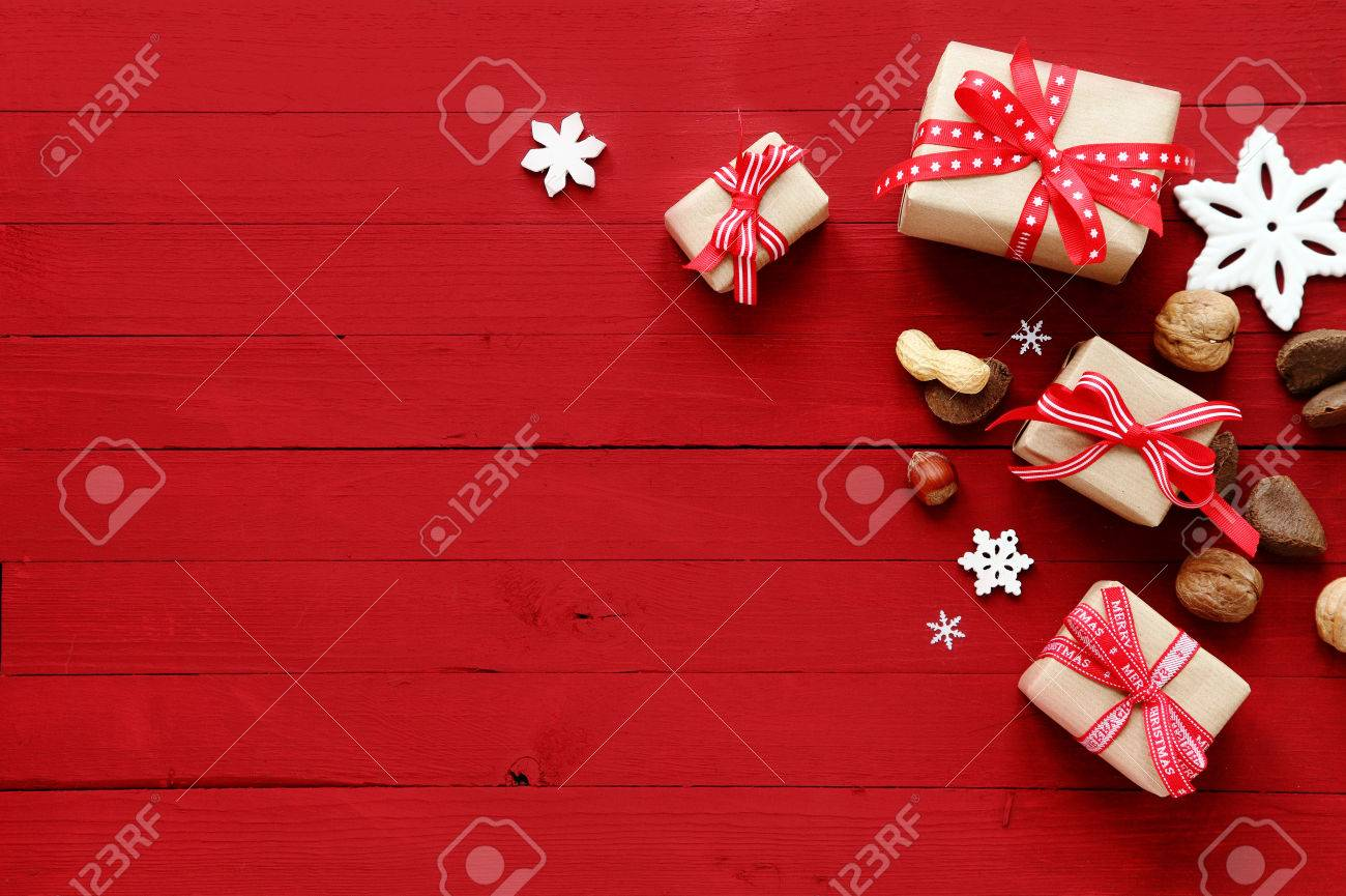 Festive Red Christmas Card Background With Copyspace And A Holiday ...