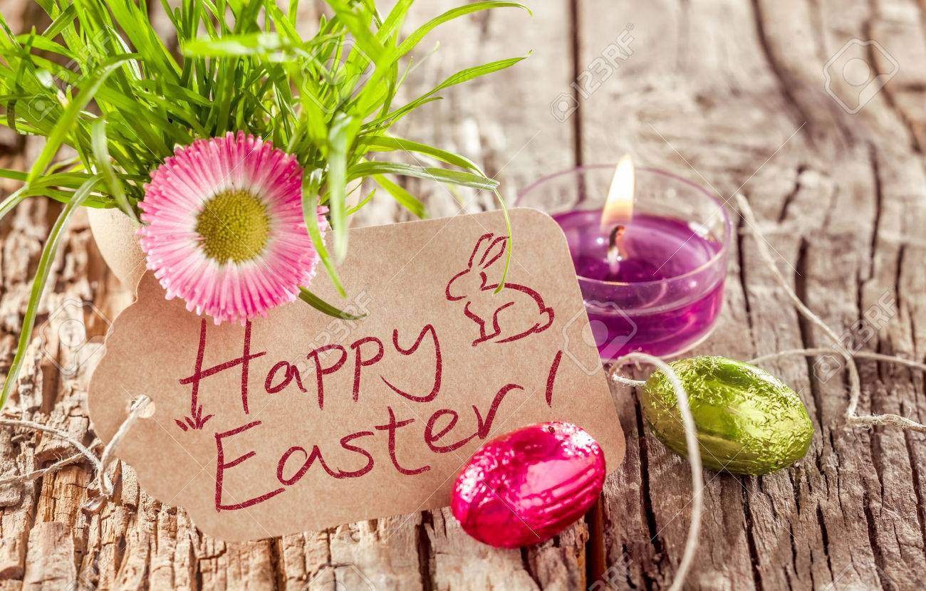 Happy Easter Background Still Life With A Rustic Handwritten Card Burning Fragrant Candle Spring