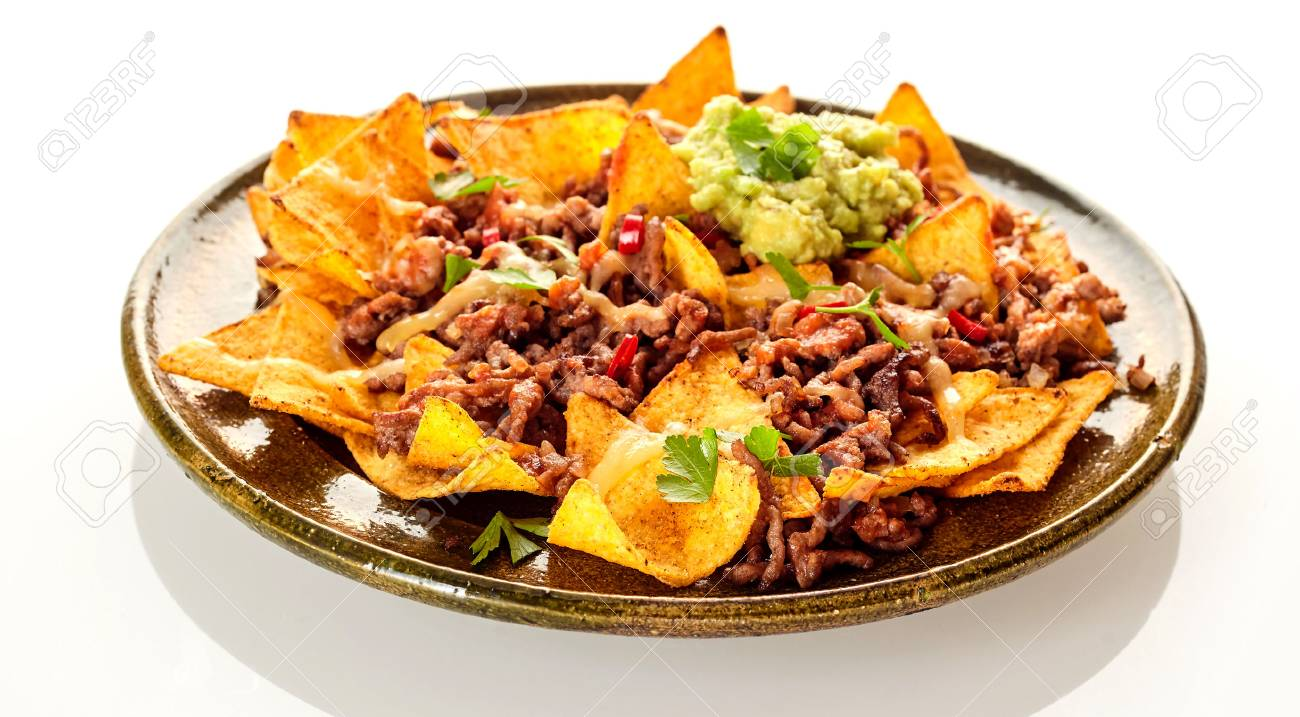 Round Ceramic Plate With Crunchy Yellow Corn Tortilla Chips Stock Photo Picture And Royalty Free Image Image 58460118