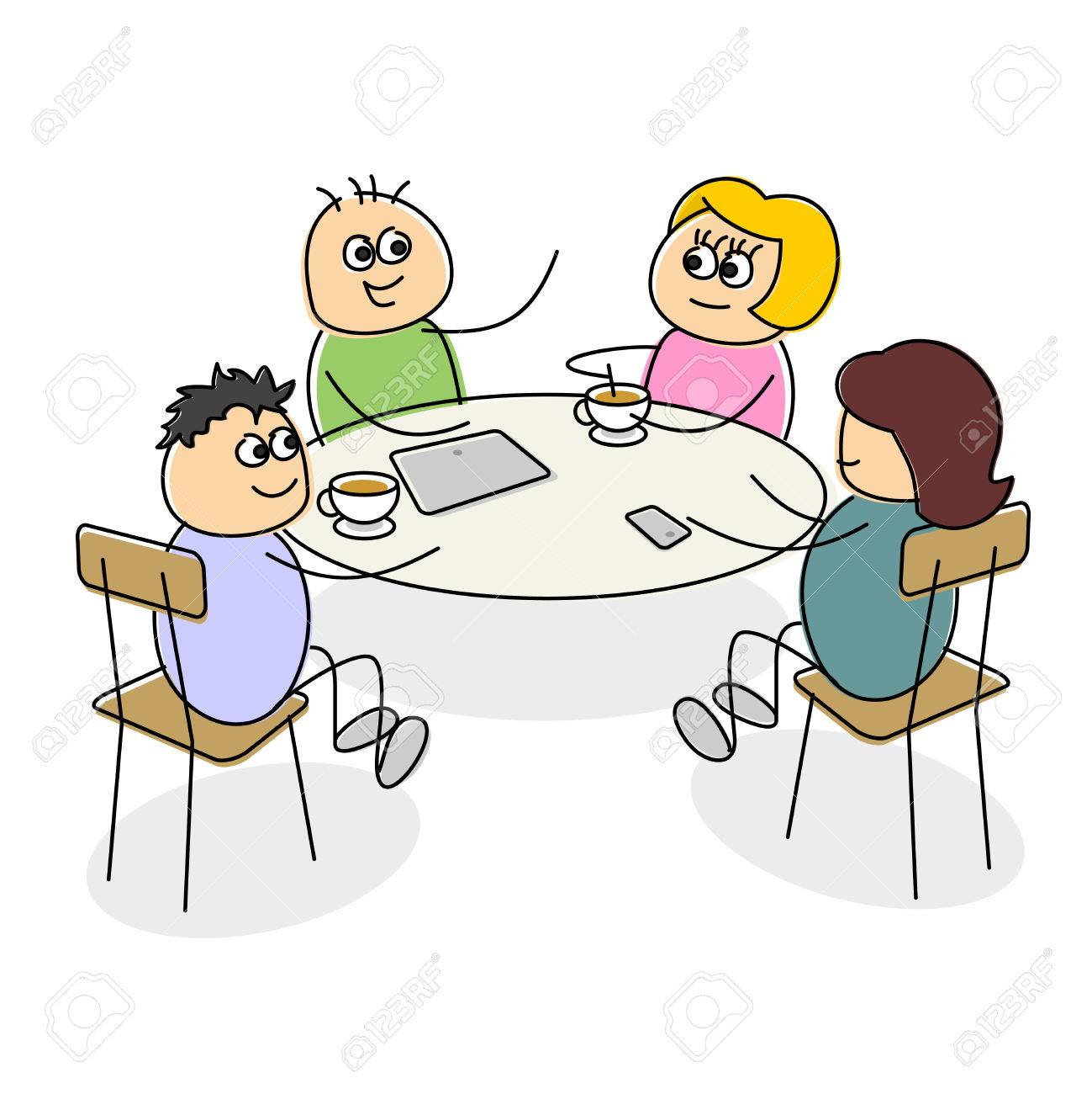 cartoon business meeting having coffee at a table as they smile