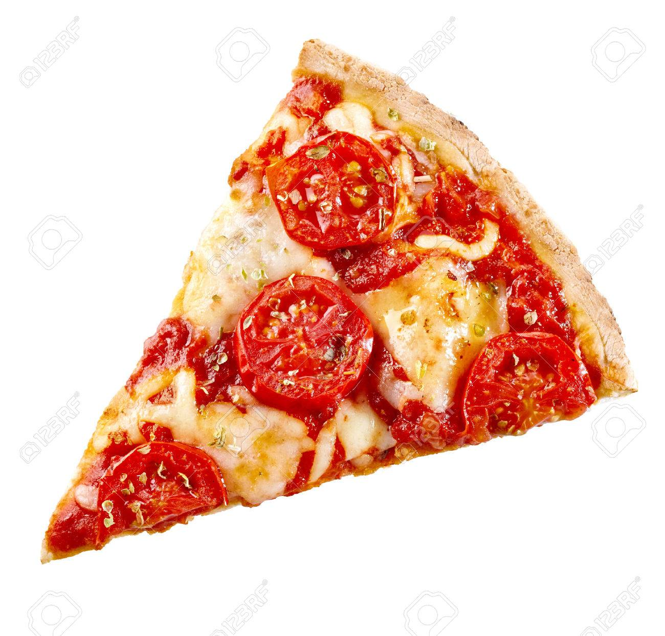 Top View Of A Slice Margherita Italian Pizza With Melted
