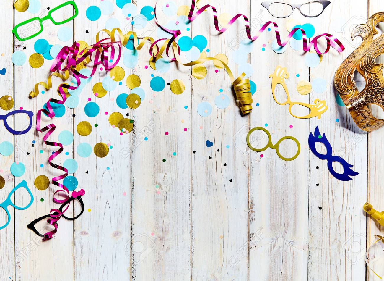 Party Or Carnival Background With Copy Space With Scattered ...