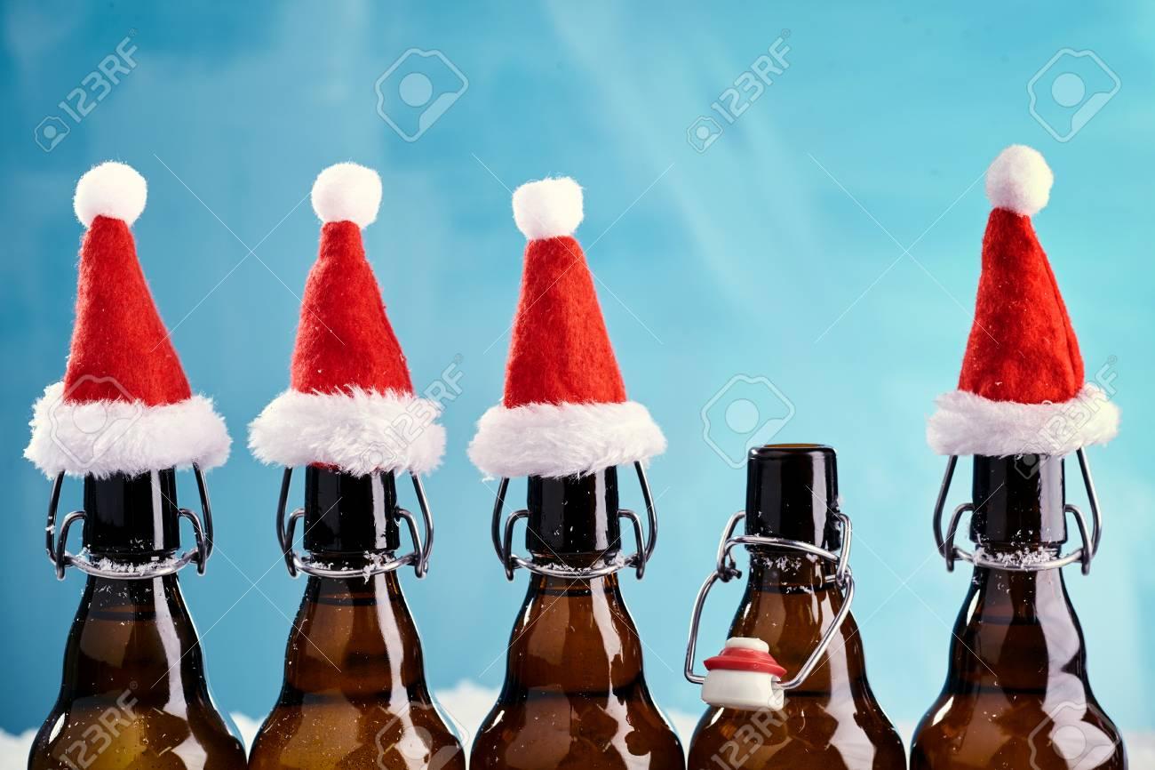 Christmas Beer.Winter Beer Bottle Merry Christmas Party Beer Bottles In A Row