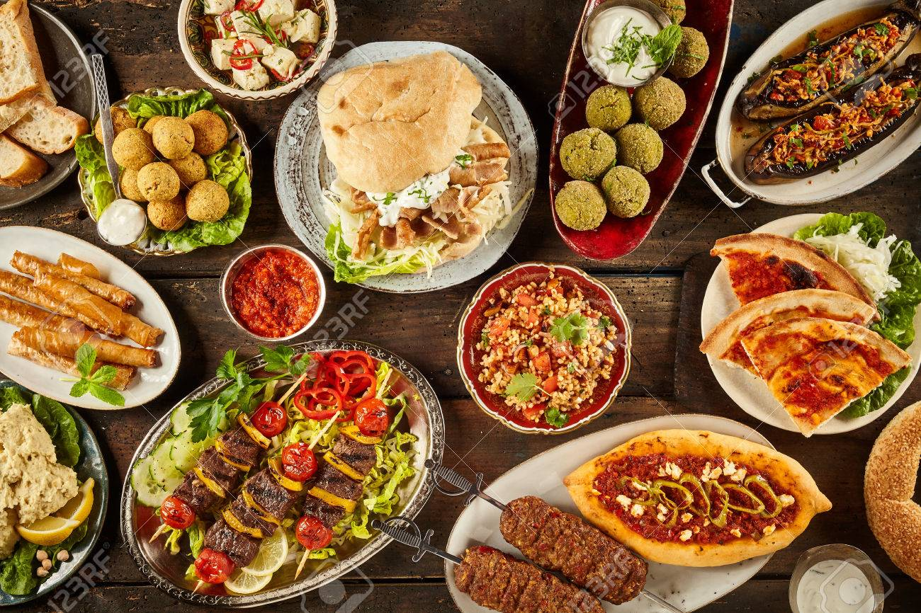 Attirant Stock Photo   Top Down View On Freshly Prepared Delicious Varieties Of  Mediterranean Dishes On Wooden Table