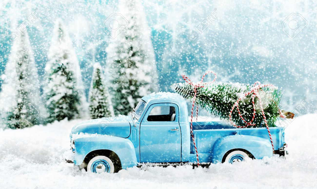 Vintage Toy Truck Fetching A Christmas Tree From A Pine Forest Stock Photo Picture And Royalty Free Image Image 67055153