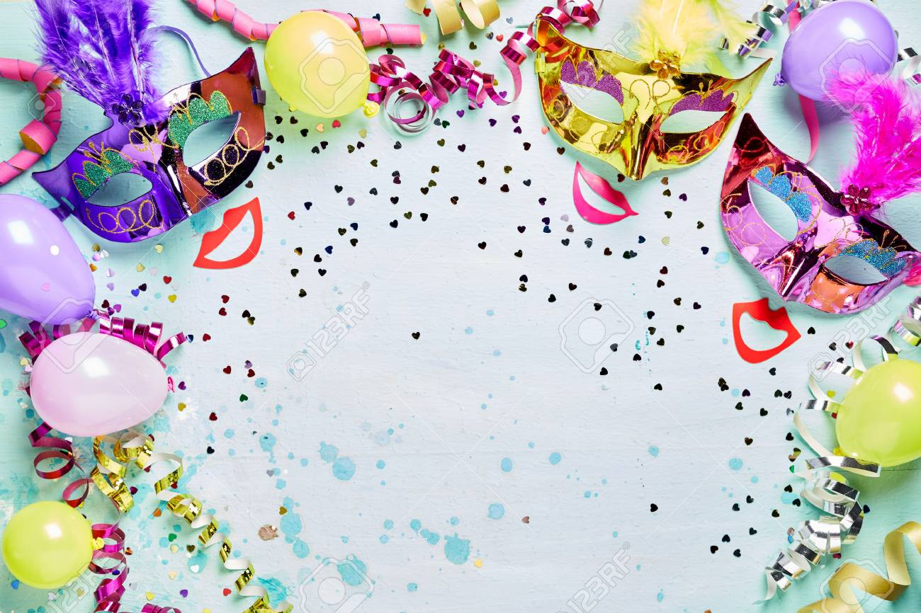 Fun Carnival, Masquerade Or Mardi Gras Frame With Bright Metallic ...